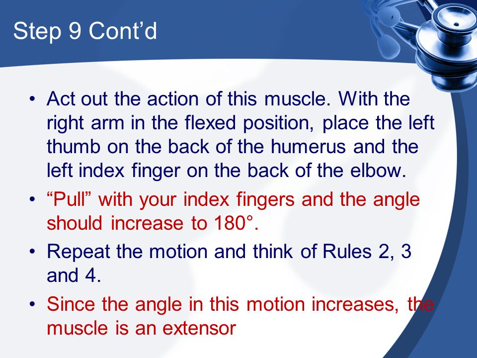 Step 9 Cont'd Act out the action of this muscle. With the right arm in the flexed position, place the left thumb on the back of the humerus and the le