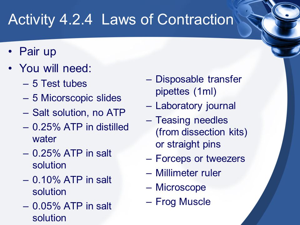Activity 4.2.4 Laws of Contraction Pair up You will need: –5 Test tubes –5 Micorscopic slides –Salt solution, no ATP –0.25% ATP in distilled water –0.