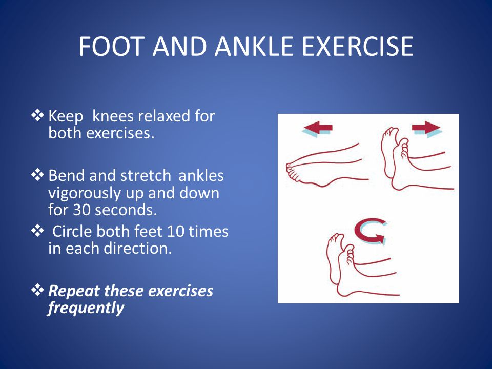 FOOT AND ANKLE EXERCISE  Keep knees relaxed for both exercises.