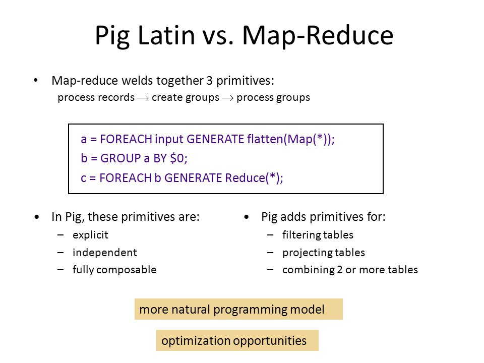 Pig Latin vs. Map-Reduce Map-reduce welds together 3 primitives: process records  create groups  process groups In Pig, these primitives are: –expli