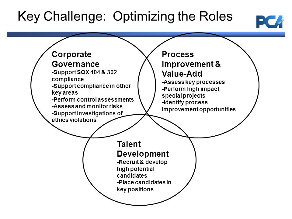 Key Challenge: Optimizing the Roles Process Improvement & Value-Add -Assess key processes -Perform high impact special projects -Identify process improvement opportunities Corporate Governance -Support SOX 404 & 302 compliance -Support compliance in other key areas -Perform control assessments -Assess and monitor risks -Support investigations of ethics violations Talent Development -Recruit & develop high potential candidates -Place candidates in key positions Internal Audit Services| Page 11