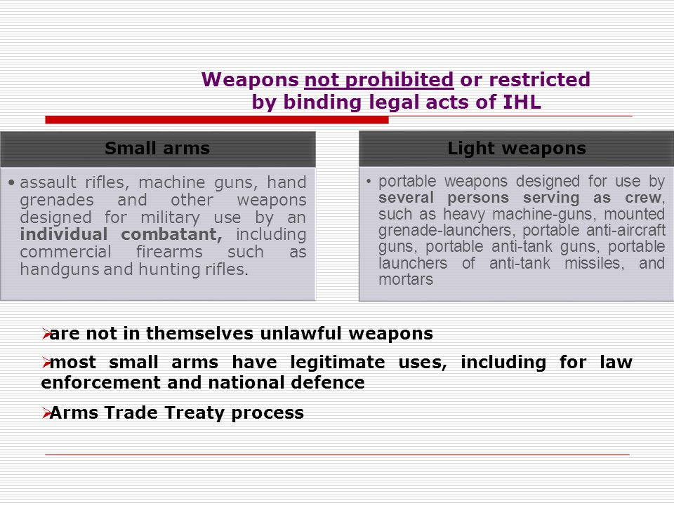 Weapons not prohibited or restricted by binding legal acts of IHL Nuclear weapon no comprehensive and universal prohibition on the use of nuclear weap