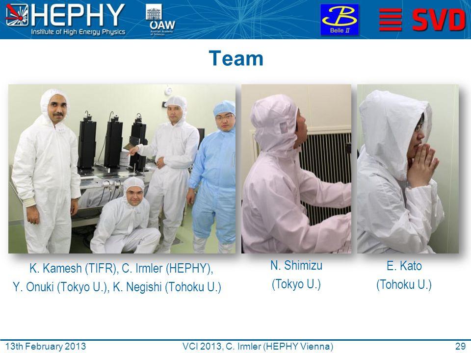 Team K. Kamesh (TIFR), C. Irmler (HEPHY), Y. Onuki (Tokyo U.), K.