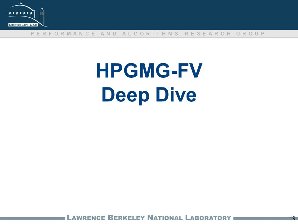L AWRENCE B ERKELEY N ATIONAL L ABORATORY PERFORMANCE AND ALGORITHMS RESEARCH GROUP HPGMG-FV Deep Dive 19