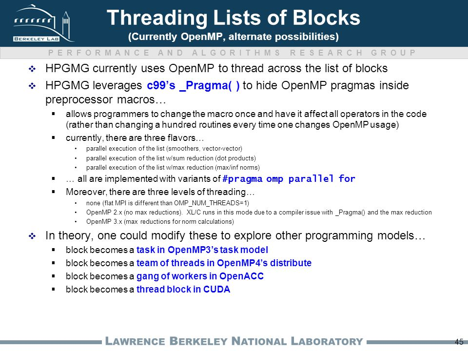 PERFORMANCE AND ALGORITHMS RESEARCH GROUP L AWRENCE B ERKELEY N ATIONAL L ABORATORY Threading Lists of Blocks (Currently OpenMP, alternate possibilities)  HPGMG currently uses OpenMP to thread across the list of blocks  HPGMG leverages c99's _Pragma( ) to hide OpenMP pragmas inside preprocessor macros…  allows programmers to change the macro once and have it affect all operators in the code (rather than changing a hundred routines every time one changes OpenMP usage)  currently, there are three flavors… parallel execution of the list (smoothers, vector-vector) parallel execution of the list w/sum reduction (dot products) parallel execution of the list w/max reduction (max/inf norms)  … all are implemented with variants of #pragma omp parallel for  Moreover, there are three levels of threading… none (flat MPI is different than OMP_NUM_THREADS=1) OpenMP 2.x (no max reductions).
