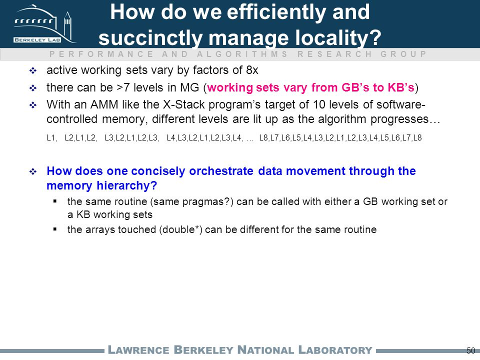 PERFORMANCE AND ALGORITHMS RESEARCH GROUP L AWRENCE B ERKELEY N ATIONAL L ABORATORY How do we efficiently and succinctly manage locality?  active wor