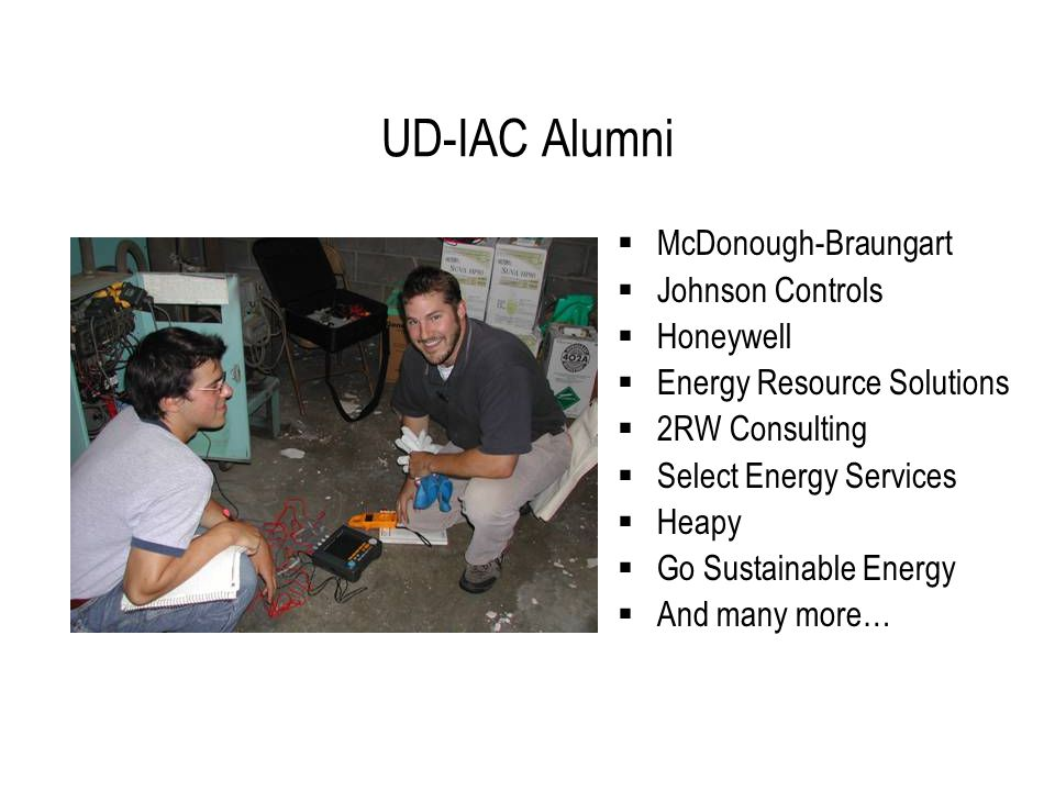 UD-IAC Alumni  McDonough-Braungart  Johnson Controls  Honeywell  Energy Resource Solutions  2RW Consulting  Select Energy Services  Heapy  Go Sustainable Energy  And many more…