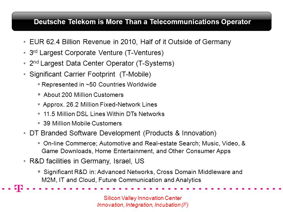 EUR 62.4 Billion Revenue in 2010, Half of it Outside of Germany 3 rd Largest Corporate Venture (T-Ventures) 2 nd Largest Data Center Operator (T-Systems) Significant Carrier Footprint (T-Mobile)  Represented in ~50 Countries Worldwide  About 200 Million Customers  Approx.