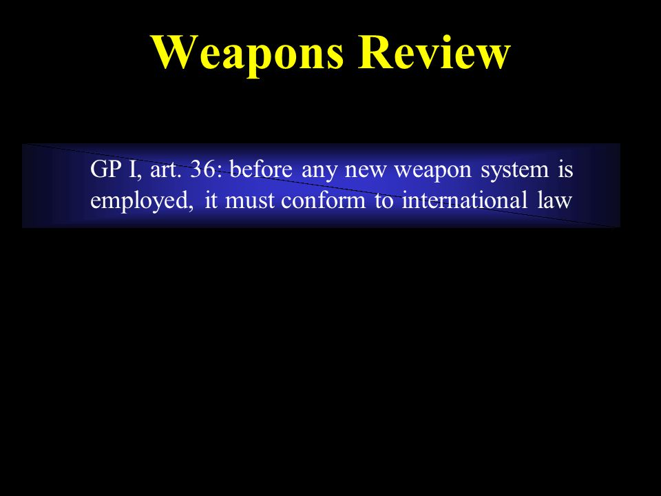 Weapons Review GP I, art.