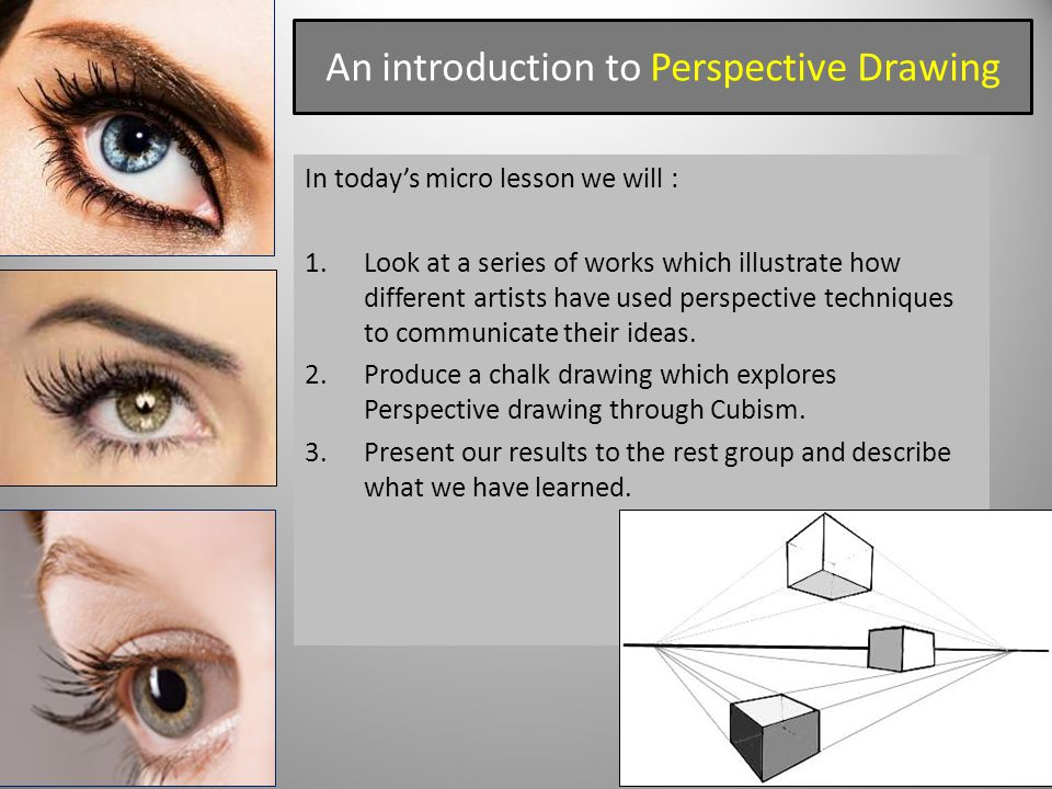 An introduction to Perspective Drawing In today's micro lesson we will : 1.Look at a series of works which illustrate how different artists have used perspective techniques to communicate their ideas.