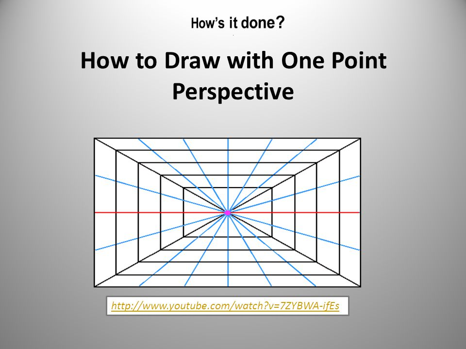 How to Draw with One Point Perspective http://www.youtube.com/watch v=7ZYBWA-ifEs