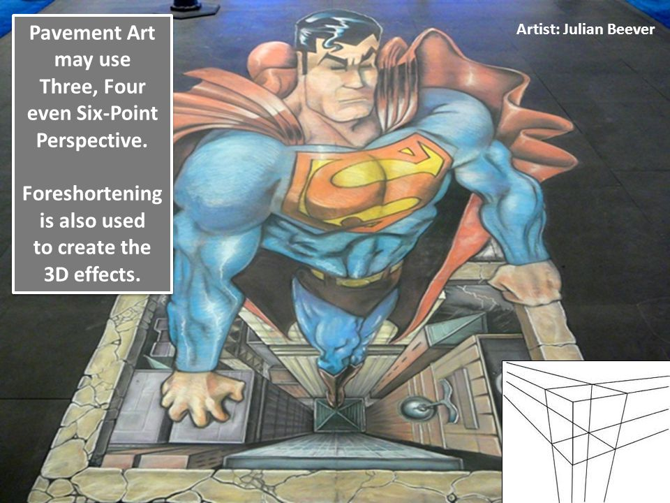 Pavement Art may use Three, Four even Six-Point Perspective.