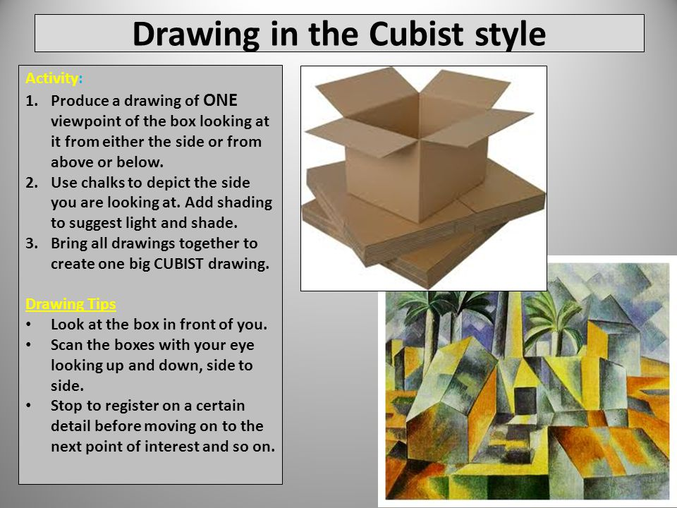 Drawing in the Cubist style Activity: 1.Produce a drawing of ONE viewpoint of the box looking at it from either the side or from above or below.