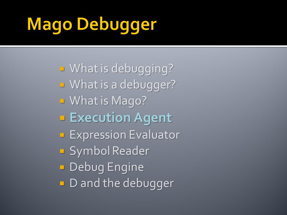 What is debugging.  What is a debugger.  What is Mago.