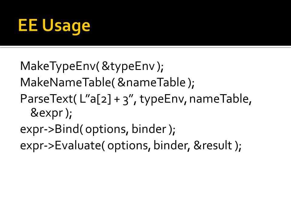 MakeTypeEnv( &typeEnv ); MakeNameTable( &nameTable ); ParseText( L a[2] + 3 , typeEnv, nameTable, &expr ); expr->Bind( options, binder ); expr->Evaluate( options, binder, &result );