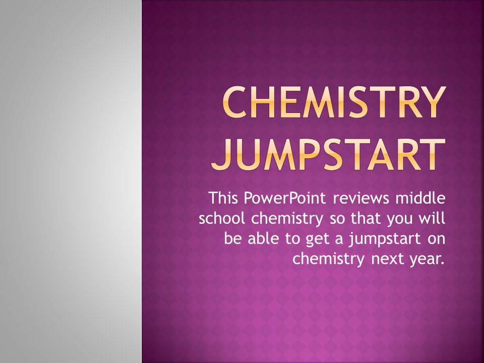 This PowerPoint reviews middle school chemistry so that you will be able to get a jumpstart on chemistry next year.