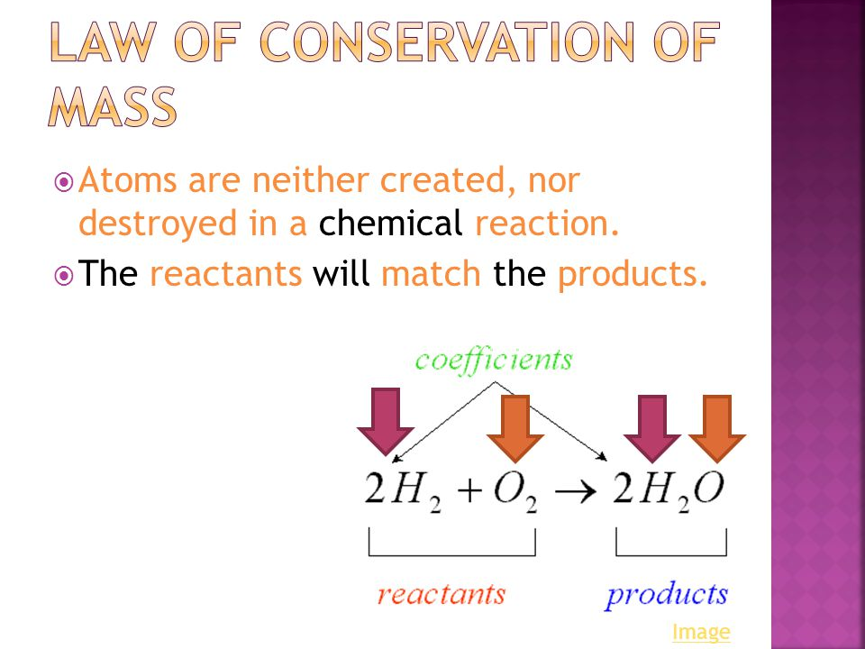  Atoms are neither created, nor destroyed in a chemical reaction.