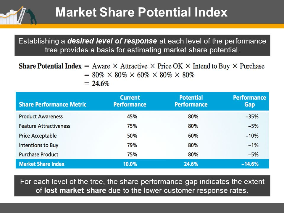 Market Share Potential Index For each level of the tree, the share performance gap indicates the extent of lost market share due to the lower customer
