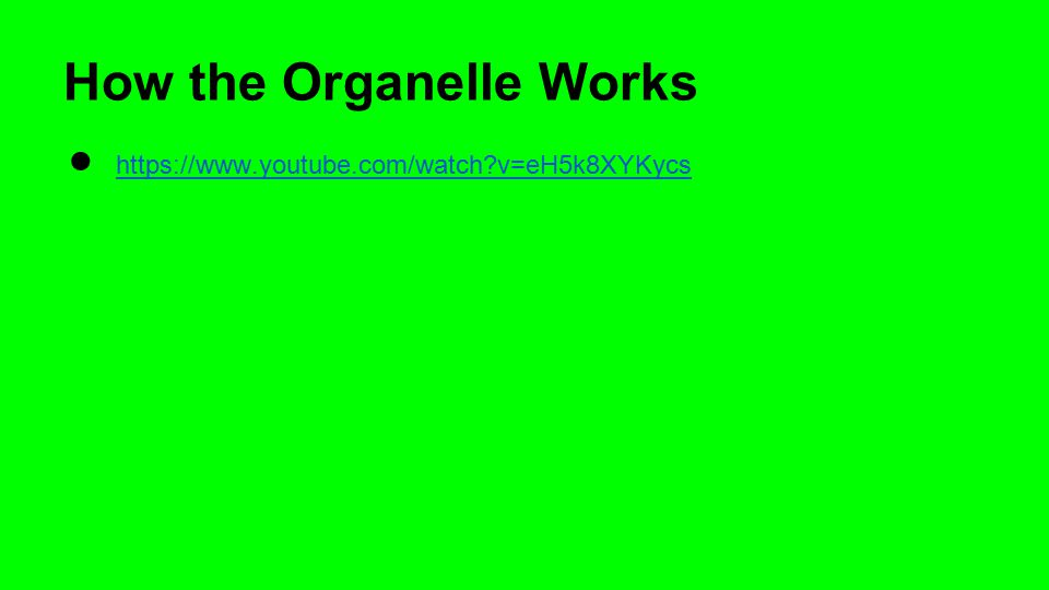 How the Organelle Works ● https://www.youtube.com/watch?v=eH5k8XYKycs https://www.youtube.com/watch?v=eH5k8XYKycs