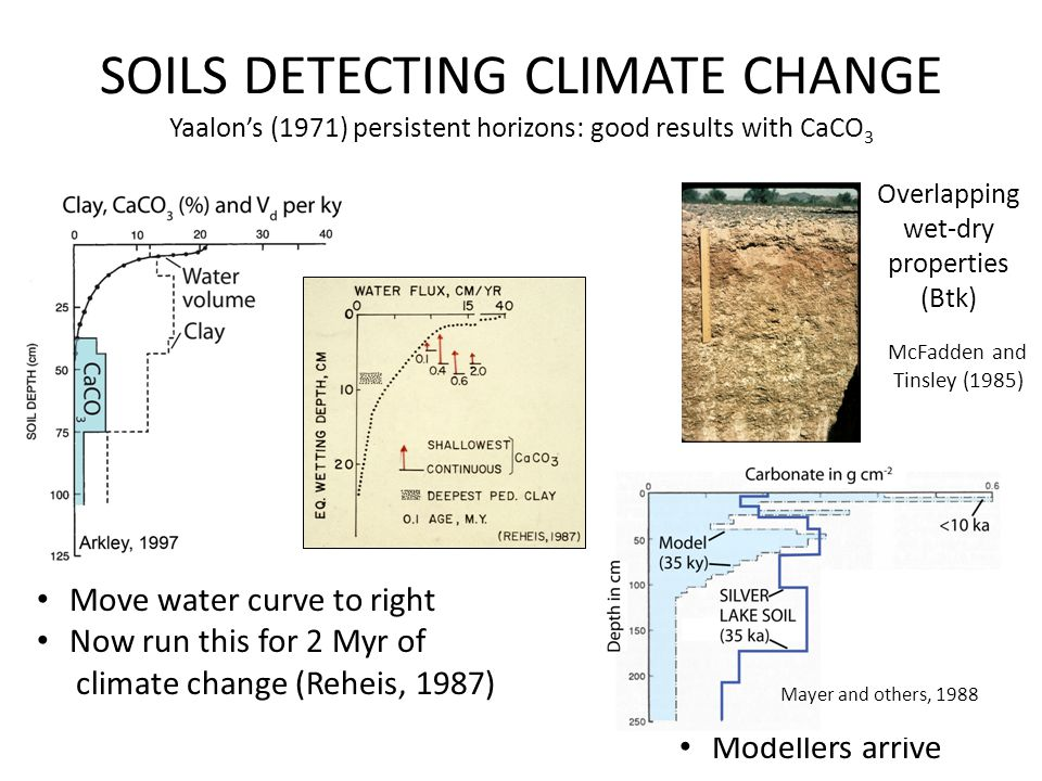 SOILS DETECTING CLIMATE CHANGE Yaalon's (1971) persistent horizons: good results with CaCO 3 Overlapping wet-dry properties (Btk) Modellers arrive Move water curve to right Now run this for 2 Myr of climate change (Reheis, 1987) McFadden and Tinsley (1985) Mayer and others, 1988