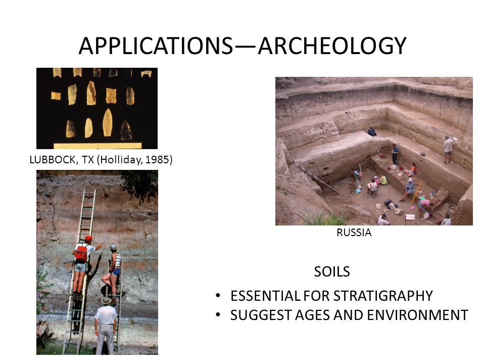 APPLICATIONS—ARCHEOLOGY RUSSIA SOILS ESSENTIAL FOR STRATIGRAPHY SUGGEST AGES AND ENVIRONMENT LUBBOCK, TX (Holliday, 1985)