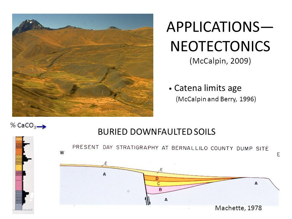 APPLICATIONS— NEOTECTONICS (McCalpin, 2009) Catena limits age (McCalpin and Berry, 1996) Machette (1978) % CaCO 3 Machette, 1978 BURIED DOWNFAULTED SOILS