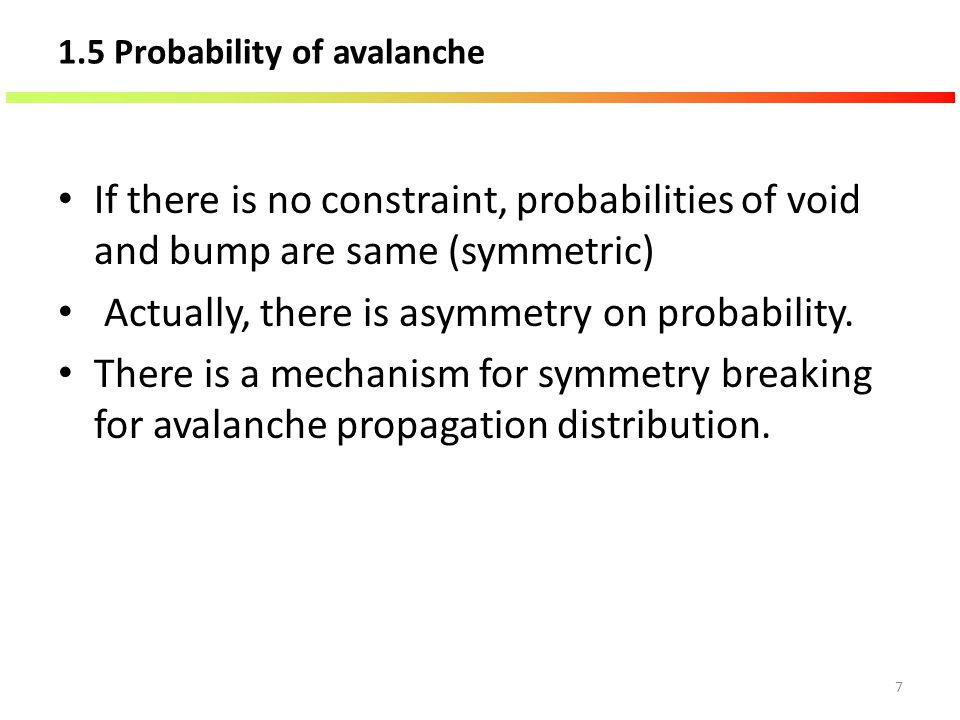 1.5 Probability of avalanche If there is no constraint, probabilities of void and bump are same (symmetric) Actually, there is asymmetry on probabilit