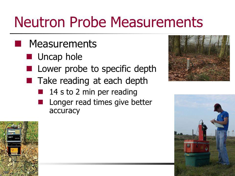 Neutron Probe Measurements Measurements Uncap hole Lower probe to specific depth Take reading at each depth 14 s to 2 min per reading Longer read time