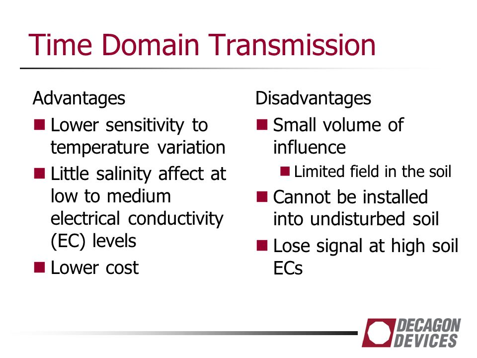 Time Domain Transmission Advantages Lower sensitivity to temperature variation Little salinity affect at low to medium electrical conductivity (EC) le