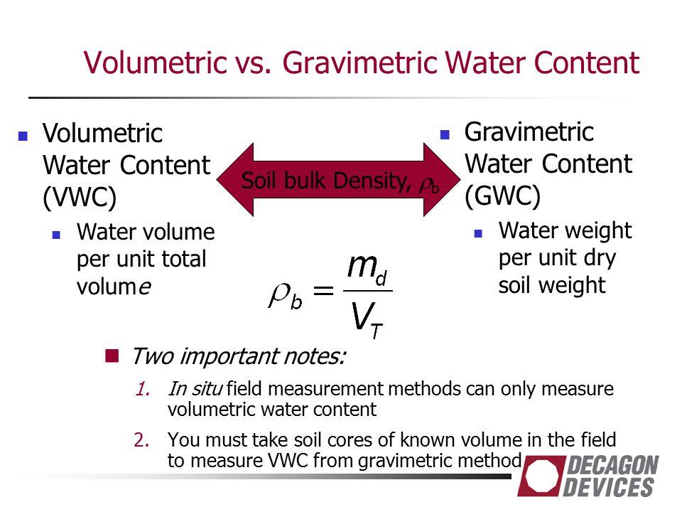 Volumetric vs. Gravimetric Water Content Two important notes: 1.In situ field measurement methods can only measure volumetric water content 2.You must