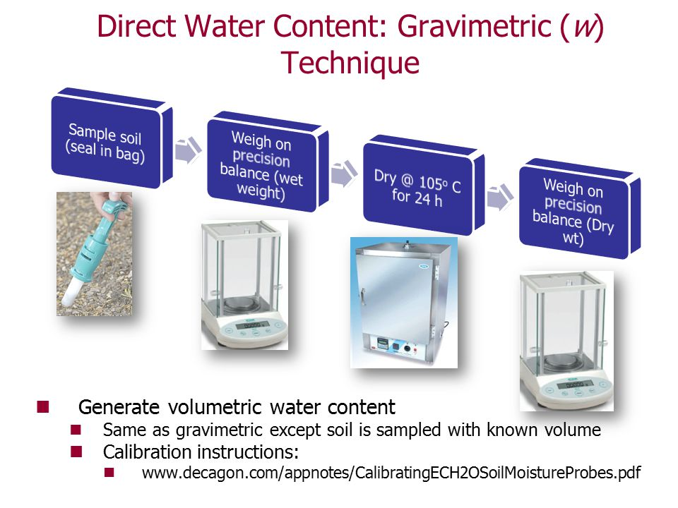 Direct Water Content: Gravimetric (w) Technique Generate volumetric water content Same as gravimetric except soil is sampled with known volume Calibra