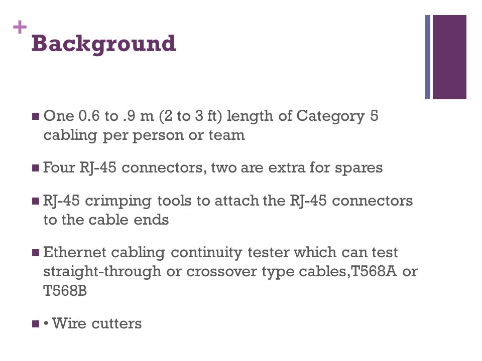 + Background One 0.6 to.9 m (2 to 3 ft) length of Category 5 cabling per person or team Four RJ-45 connectors, two are extra for spares RJ-45 crimping tools to attach the RJ-45 connectors to the cable ends Ethernet cabling continuity tester which can test straight-through or crossover type cables,T568A or T568B Wire cutters