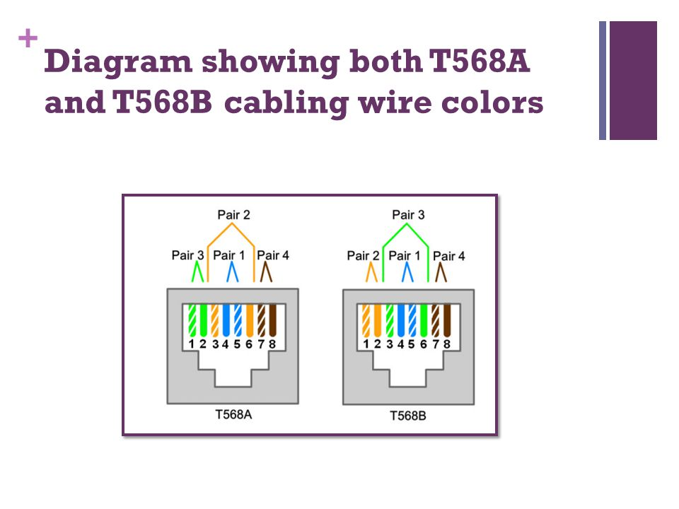 + Diagram showing both T568A and T568B cabling wire colors