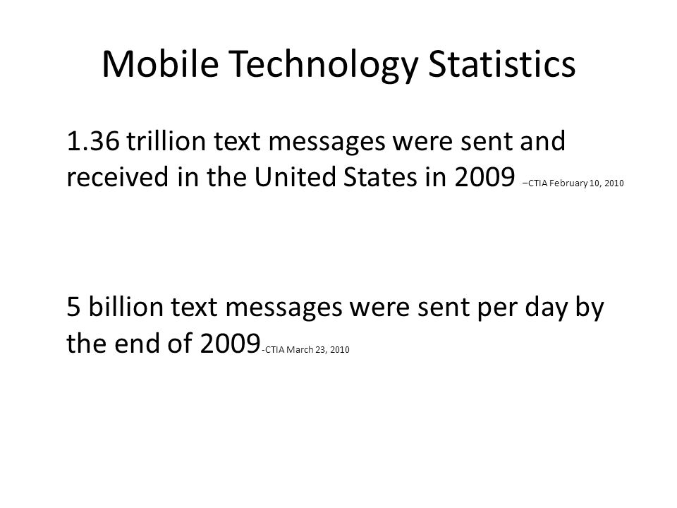 Mobile Technology Statistics 1.36 trillion text messages were sent and received in the United States in 2009 –CTIA February 10, 2010 5 billion text messages were sent per day by the end of 2009 -CTIA March 23, 2010