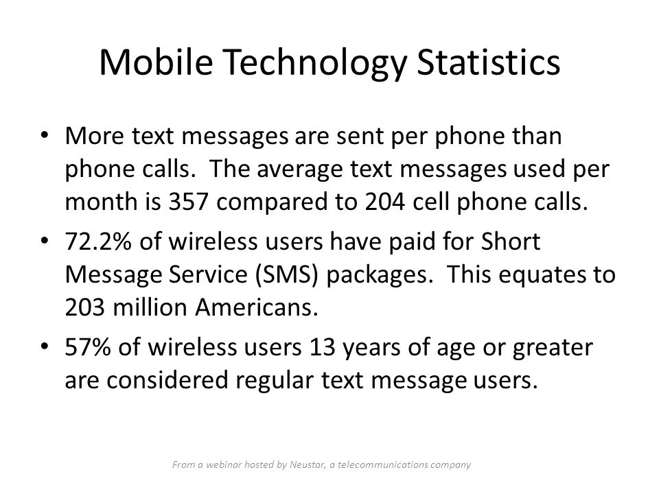 Mobile Technology Statistics Data released December 15, 2009, by the Census Bureau reported that Americans sent 110 billion text messages in December 2008.