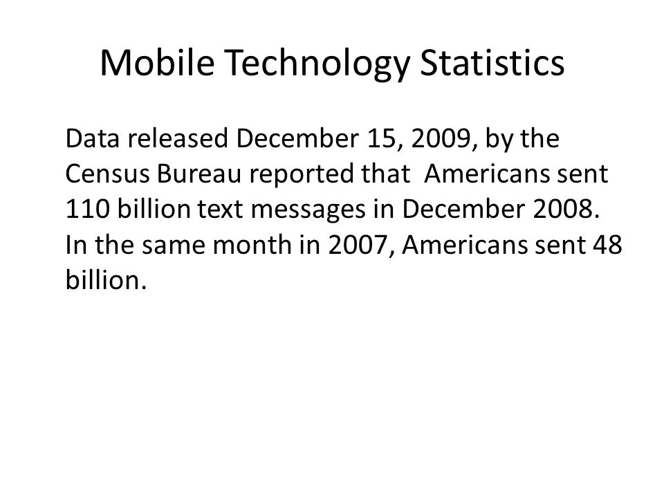 Mobile Technology Statistics The rise in texting has had another quantifiable effect, according to the Census Bureau.