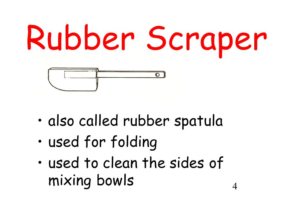 Rubber Scraper also called rubber spatula used for folding used to clean the sides of mixing bowls 4