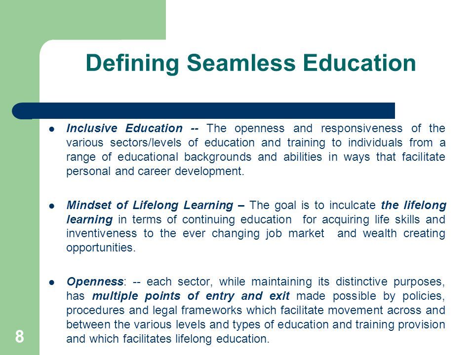 19 Dimensions of Seamlessness Assessed needs of the learner across all levels of the education system – formal, non formal, informal – from pre school to tertiary Curricula, co-curricula, extra curricula – domains of learning Instructional design, delivery and assessment Teacher development – the HRM/HRD Imperatives Quality assurance, quality control and accounting for learning outcomes and educational impacts Management and Administration Governance and public accountability