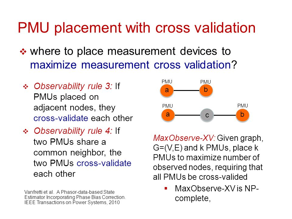 Greedy Solutions to PMU placement  MaxObserveGreedy: iteratively place k PMUs: iteratively at node that results in observation of max # new nodes  MaxObserveGreedy-XV: iteratively place PMU pairs at nodes{u,v}, such that u and v are cross-validated and result in observation of max #new nodes  evaluation:  generate grid networks with same degree distribution as IEEE Bus 57  brute force optimal solution by enumeration for small # PMUs