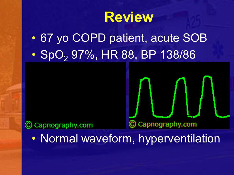 Review 67 yo COPD patient, acute SOB SpO 2 97%, HR 88, BP 138/86 Normal waveform, hyperventilation
