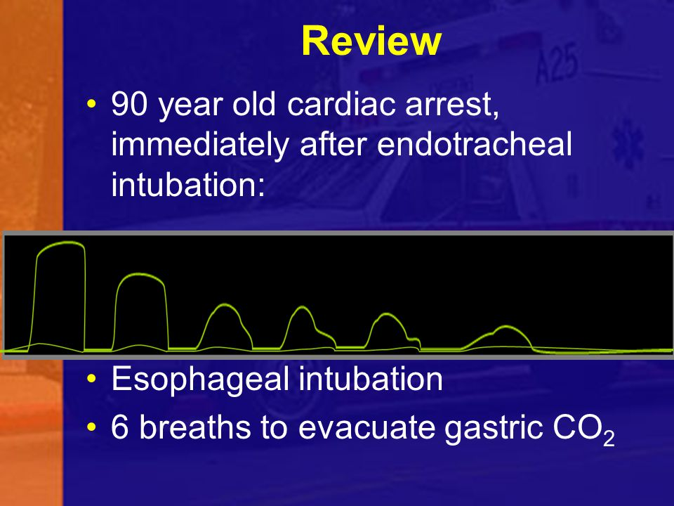 Review 90 year old cardiac arrest, immediately after endotracheal intubation: Esophageal intubation 6 breaths to evacuate gastric CO 2