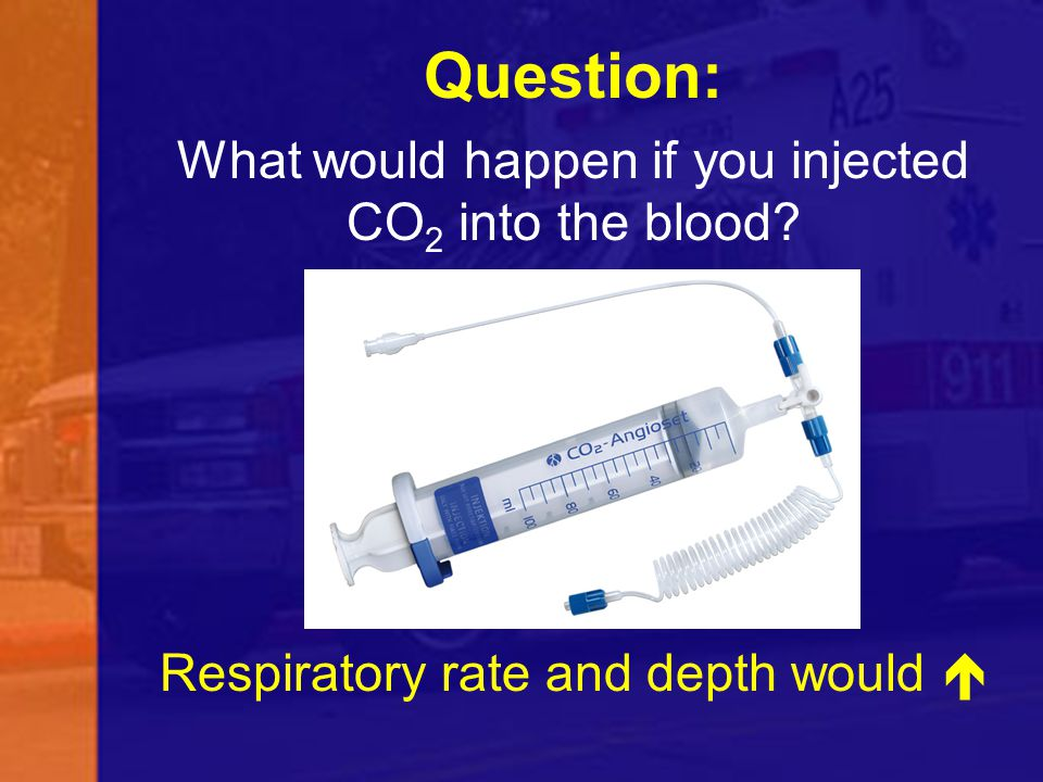 Question: What would happen if you injected CO 2 into the blood? Respiratory rate and depth would 