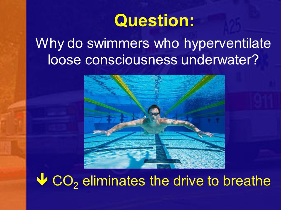 Question: Why do swimmers who hyperventilate loose consciousness underwater?  CO 2 eliminates the drive to breathe