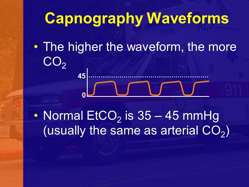 Capnography Waveforms The higher the waveform, the more CO 2 Normal EtCO 2 is 35 – 45 mmHg (usually the same as arterial CO 2 ) 0 45