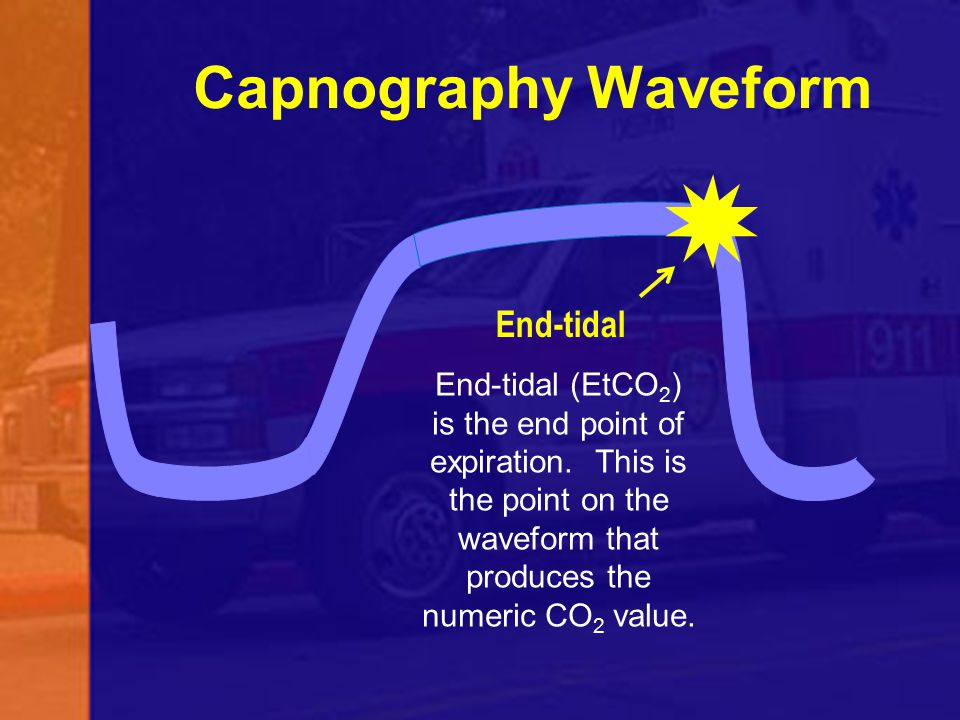 End-tidal Capnography Waveform End-tidal (EtCO 2 ) is the end point of expiration. This is the point on the waveform that produces the numeric CO 2 va