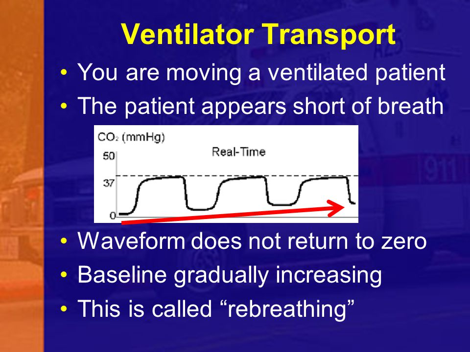Ventilator Transport You are moving a ventilated patient The patient appears short of breath Waveform does not return to zero Baseline gradually incre