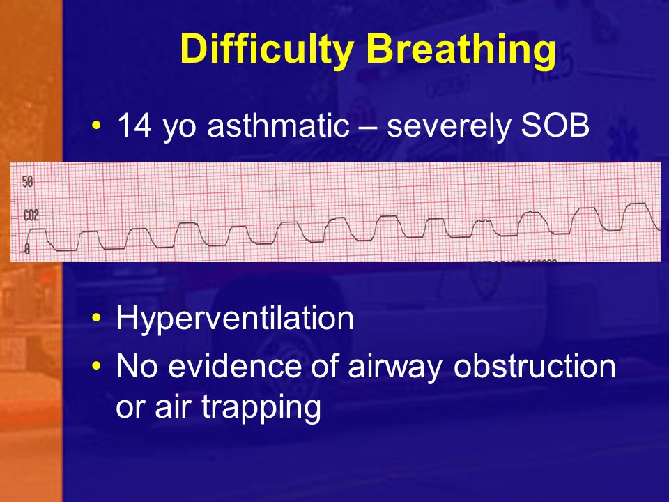 Difficulty Breathing 14 yo asthmatic – severely SOB Hyperventilation No evidence of airway obstruction or air trapping