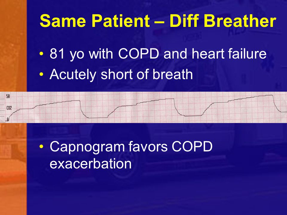 Same Patient – Diff Breather 81 yo with COPD and heart failure Acutely short of breath Capnogram favors COPD exacerbation