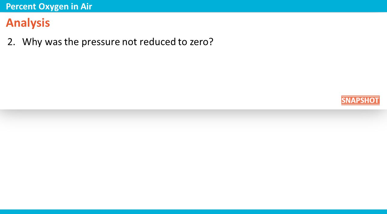 Analysis 2.Why was the pressure not reduced to zero? Percent Oxygen in Air