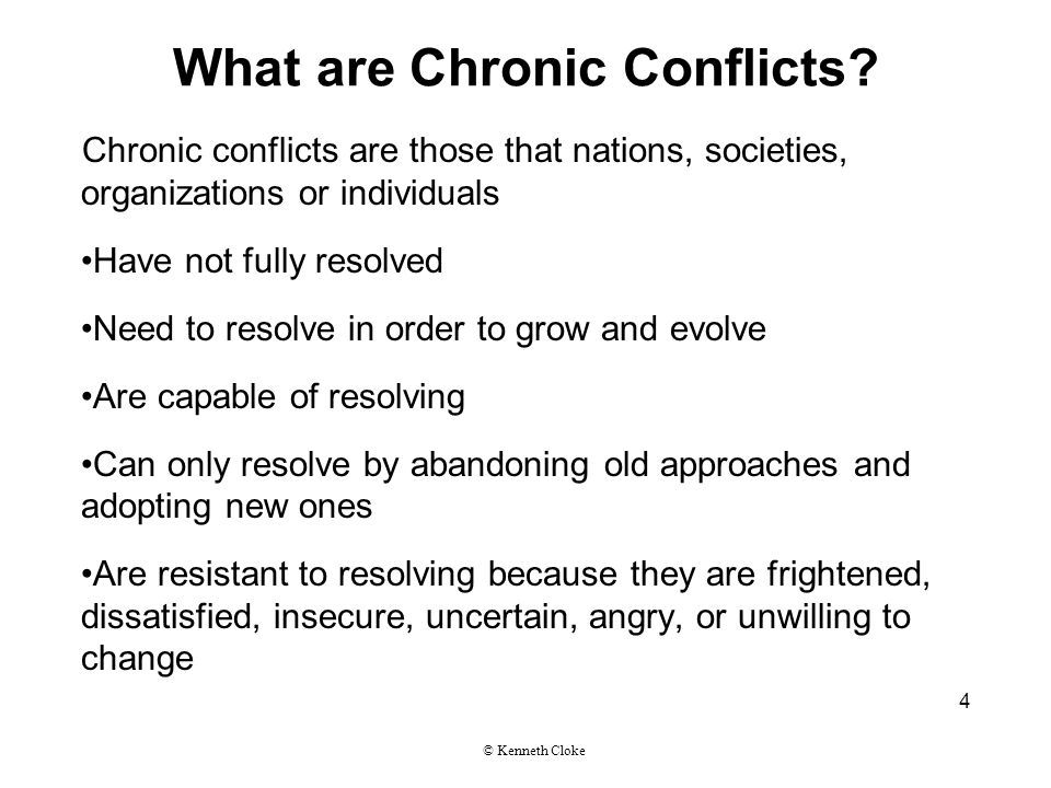 What are Chronic Conflicts.